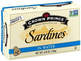 Crown Prince Sardines in Water, 4.25-Ounce Cans Pack of 12