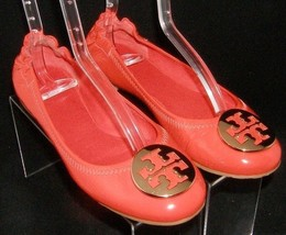 Tory Burch Reva orange metal gold round toe slip on scrunch ballet flats 7M - $111.88