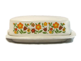 Vtg Retro McCoy Heavy Pottery Covered Butter Dish White Floral Daisy Cha... - $89.09
