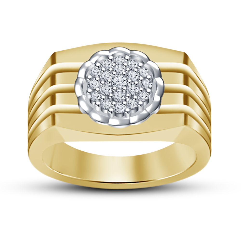 14k Yellow Gold Finish 925 Pure Silver Men's Band Ring With Simulated Diamond 8