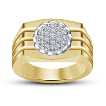 14k Yellow Gold Finish 925 Pure Silver Men's Band Ring With Simulated Diamond 8 - $78.99