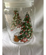 "Christmas Cookie Candy JAR - Clear Glass - 8"" high with Christmas Tree &... - $9.99"