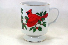 Lefton Christmas Cardinal And Holly With Berries Footed Mug - $7.19