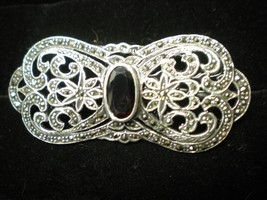 Victorian Style Signed 925 Sterling Silver Red Stone & Marcasite Pin Bro... - $24.70