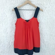 Arden B Silk Blouse Tank Top Red Blue Pleated Sleeveless Womens Size Small  - $31.67