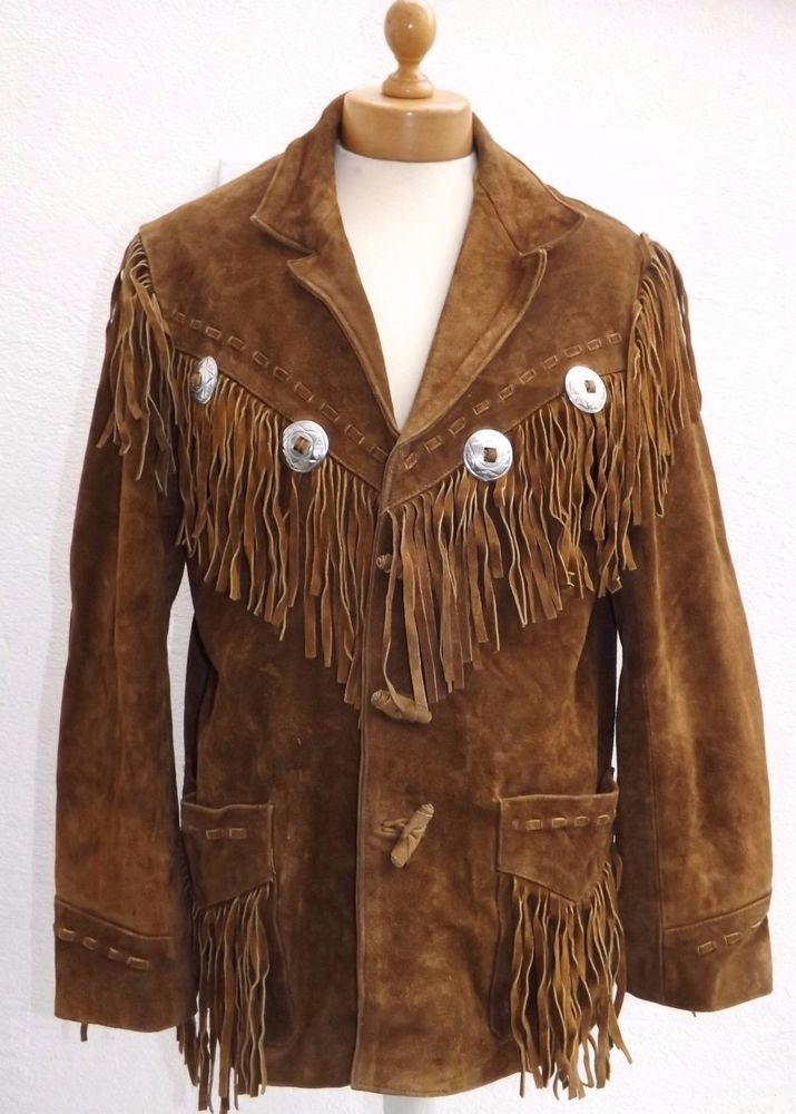 New Men's Native American Brown Suede Cow Leather Fringe Jacket & Pant WS18