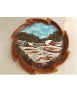 Hand Painted Wooden Plate, Winter Homestead, 10 Inch, Vintage Plate, OOA... - $87.50