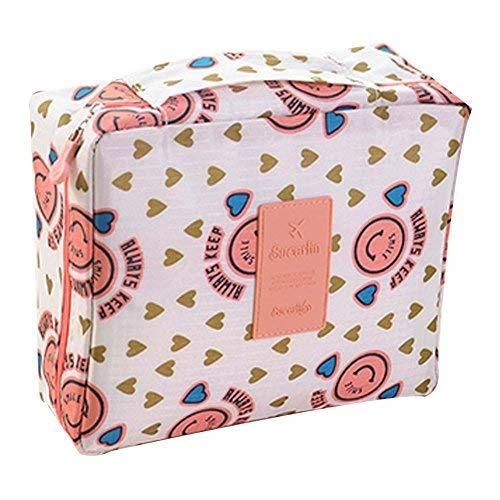 Colorful Smiling Face Pattern Beach Cosmetic Large Capacity Bag