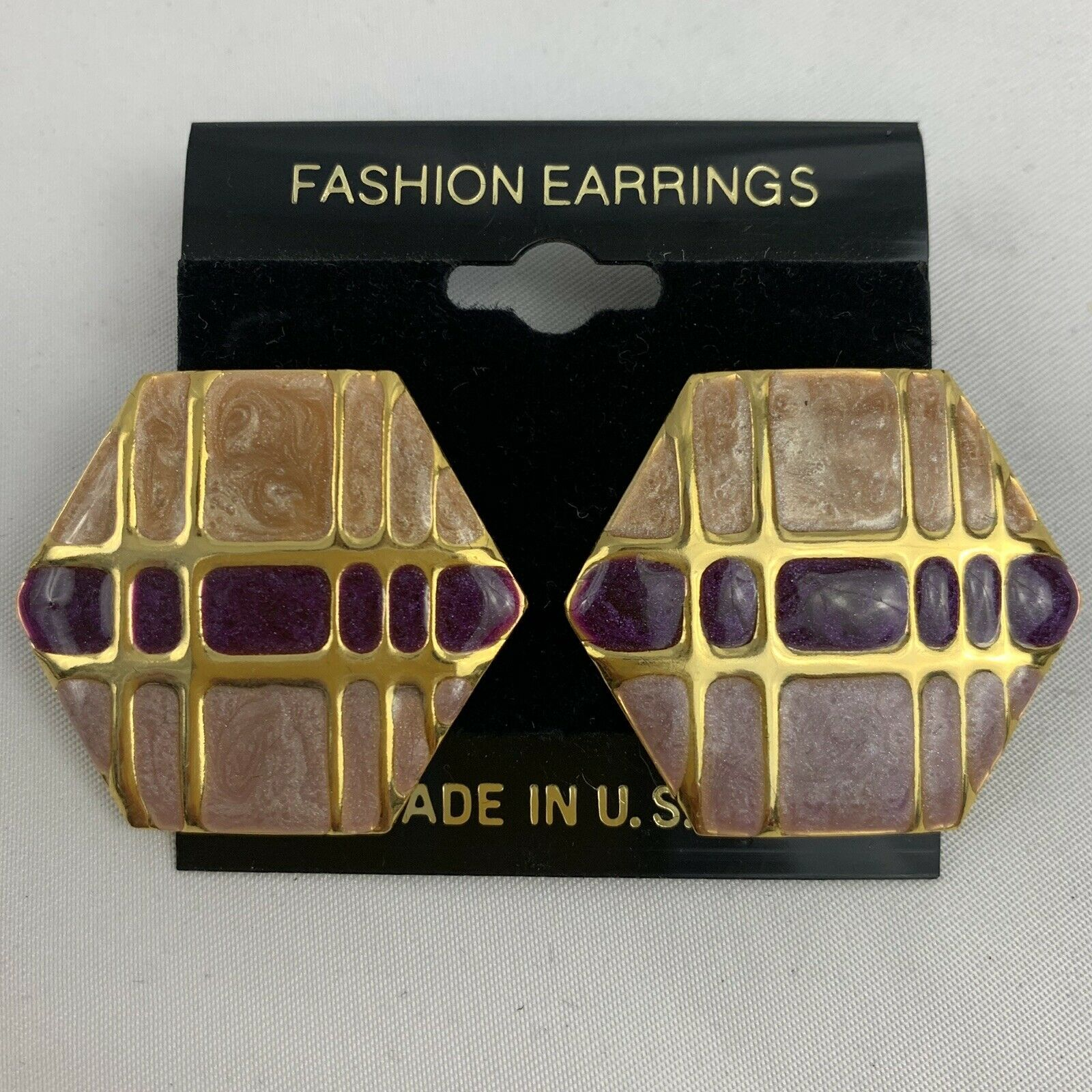 Primary image for Vintage Funky Enamel Earrings Pink Purple Gold Tone NOS 80s 90s Hexagon Shape