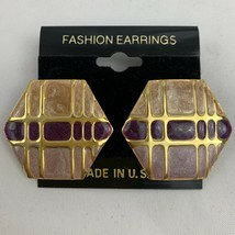 Vintage Funky Enamel Earrings Pink Purple Gold Tone NOS 80s 90s Hexagon ... - $14.80