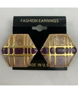 Vintage Funky Enamel Earrings Pink Purple Gold Tone NOS 80s 90s Hexagon ... - £11.10 GBP