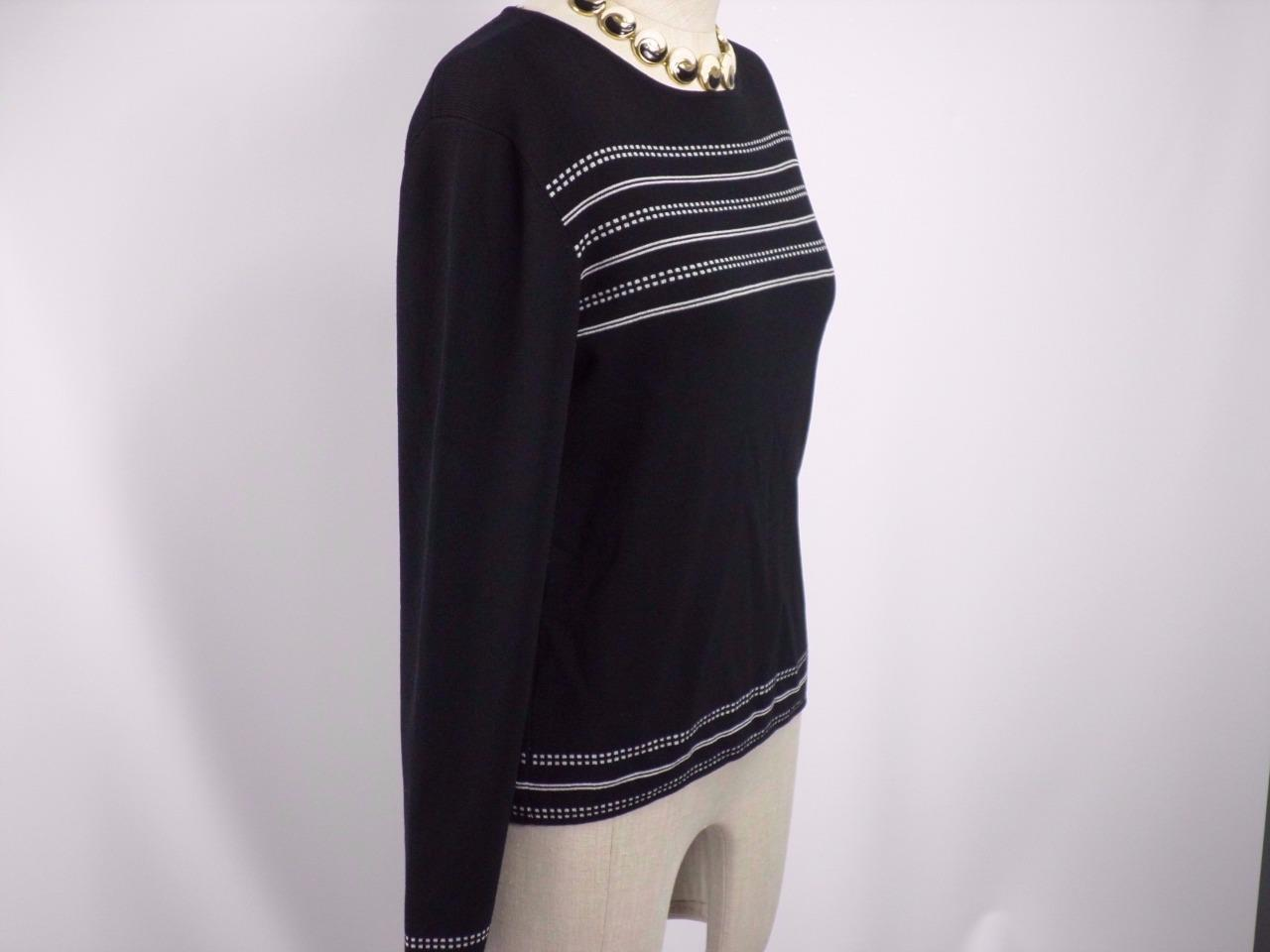 GEOFFREY BEENE Stretch black Crew Neck Long Sleeve Pull Over top Blouse Size M