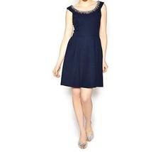 Betsey Johnson Dress Sz 8 Navy Blue Embellished Neck Evening Cocktail Dress - $1.513,97 MXN