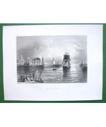 1853 Antique Print & AD : England Holyhead & Cincinnaty Ohio Furniture D... - $11.47