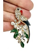 "2"" Tall Parrot Bird Pin, Gold Tone C Clasp Enamel and Rhinestones Gold Tone - $11.88"