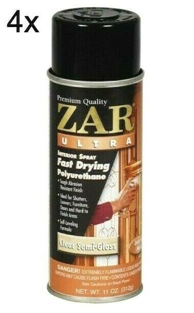 Lot of 4 ZAR 33007 11 oz Clear Semi Gloss Ultra Interior Polyurethane Spray Cans