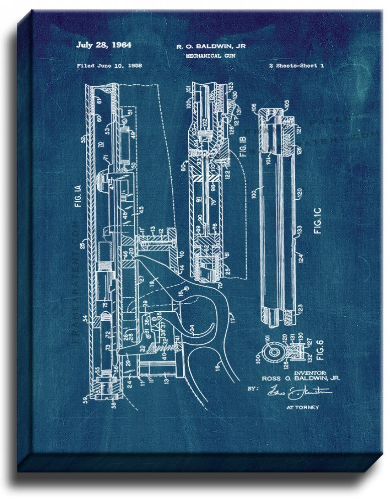 Primary image for Mechanical Gun Patent Print Midnight Blue on Canvas