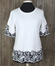 New Ann Taylor M size White Black Embroidered Aline Top Career Casual Wo... - $37.62