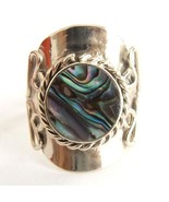 ABALONE SHELL ALPACA SILVER RING ADJUSTABLE. ROUND OVAL SHELL FILIGREE S... - $10.71