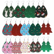 Christmas Women Earrings Fashion Jewelry Gift Leather Xmas Dangle Drop E... - $1.87+