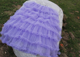 Women Purple Layered Tulle Skirt Outfit Plus Size Romantic Wedding Party Outfit  image 11