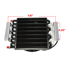 "5"" Oil Cooler with 10"" Electric Fan and 3/8"" Fitting 48"" L Hose Kit image 8"
