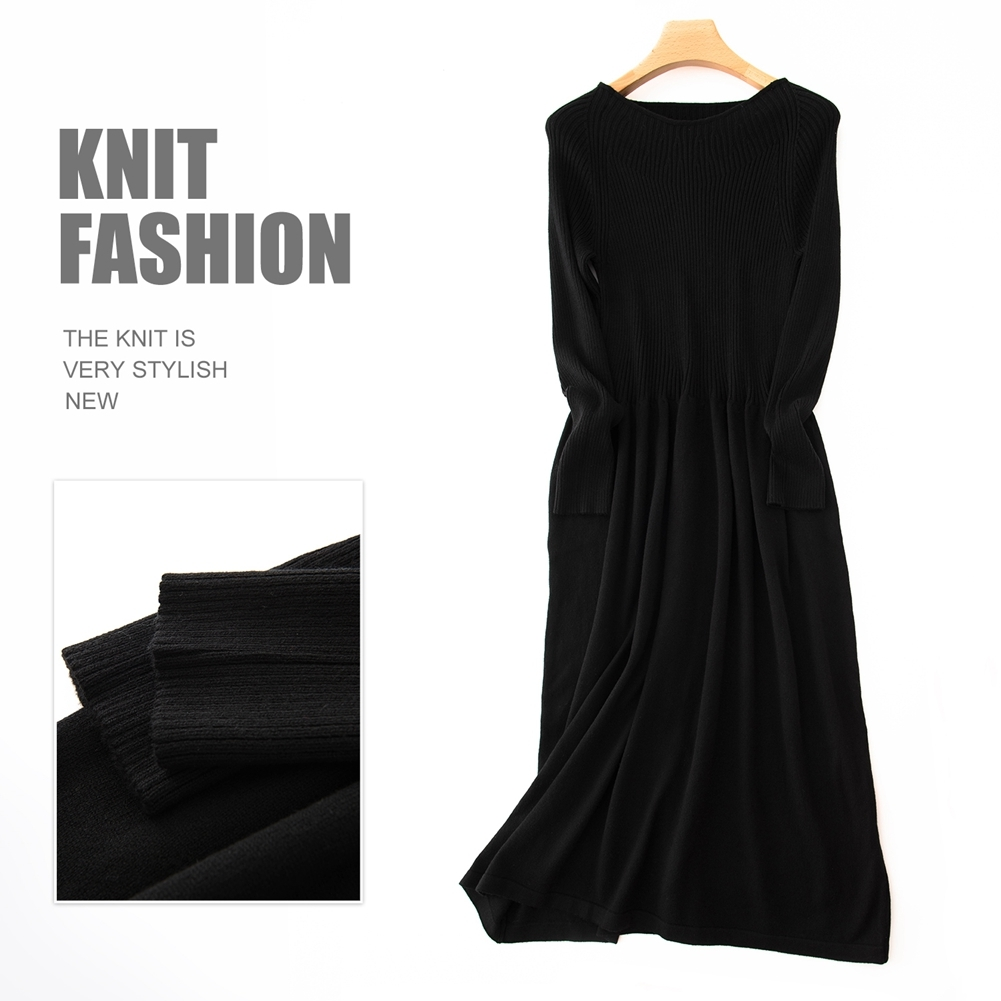 Knit Dress  Women's Cashmere Boat Neck Ribbed Elbow Fall&Winter Dresses image 2