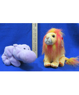 Ty Beanie Babies Stuffed Animal Bushy Lion 2000 & Happy Purple Hippo 1994 - $12.22