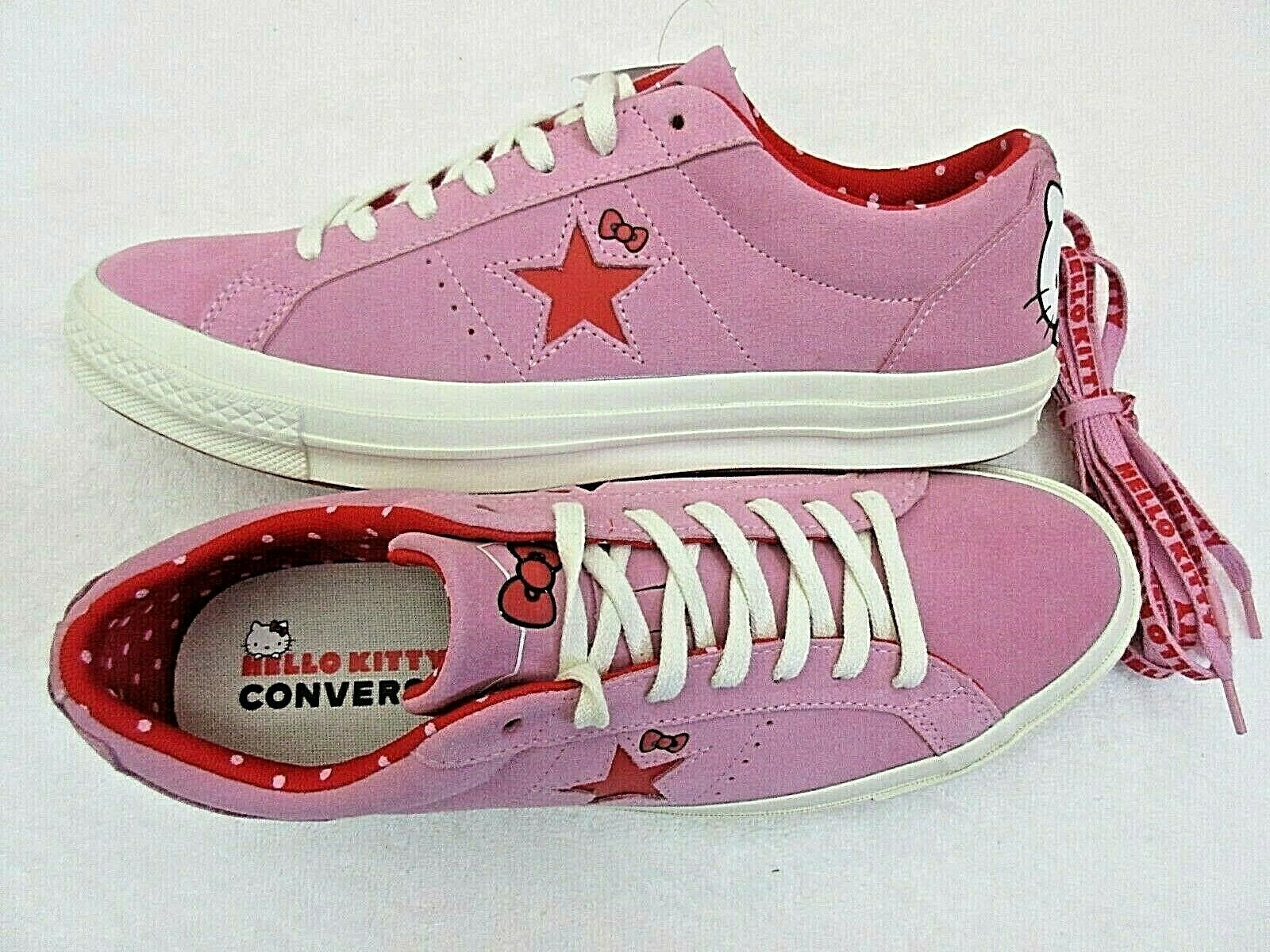 Converse One Star Ox Mens Hello Kitty Pink Prism Red Suede Shoes Size 10 New