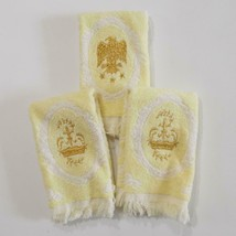 Royal Terry Guest Towel Lot Yellow Gold Embroidery Vintage 70s - $32.66