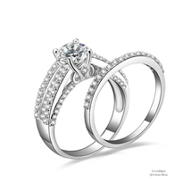1 ct Round Halo Bridge Accent Pave 925 Silver Cubic Zirconia Engagement Ring Set - $55.12