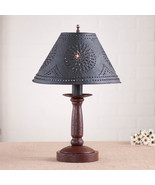 BEDSIDE TABLE LAMP with Punched Tin Shade - Distressed COLONIAL RED Fini... - $198.45