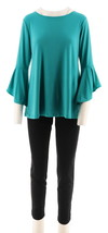 Women with Control Top Slim Ankle Pant Set Caribbean Green XL NEW A301383 - $36.61