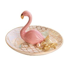 PUDDING CABIN Flamingos Ring Holder Jewelry Dish for Engagement Wedding ... - $19.19