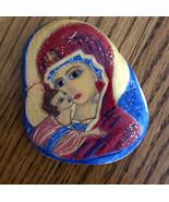 Original art Virgin Mary, Baby Jesus, Orthodox Icon, hand painted rock I... - $19.99