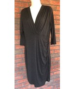Modcloth Gilli Gray Ruched Stretch Dress XL Slimming V-Neck Extra Large - $32.62