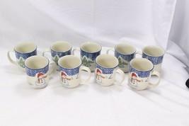 Thomson Pottery Snowman Xmas Mugs Lot of 9 - $42.09