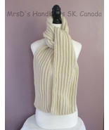 68 inch Scarf Handknit Ribbed Cream/Aran Color - $25.00