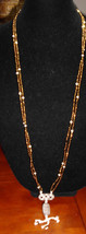 Vintage Bronze and Cream Beaded Multistrand Necklace Choker with Clay Pe... - $5.94