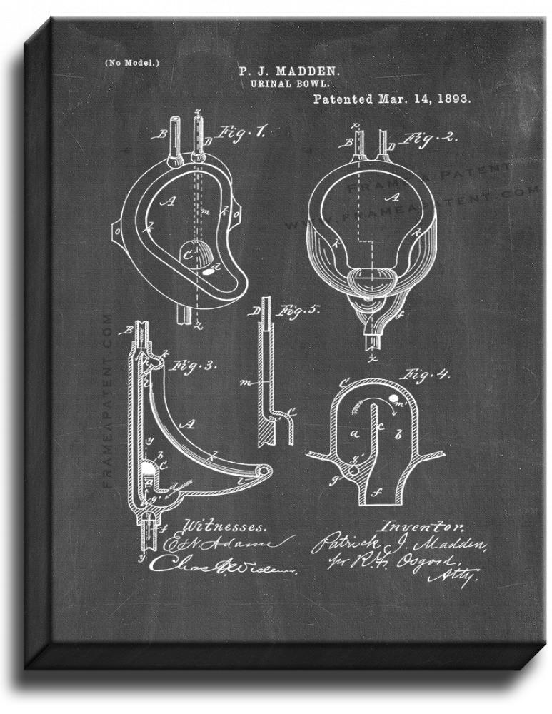 Primary image for Urinal Bowl Patent Print Chalkboard on Canvas
