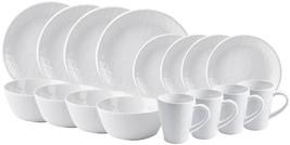 16 PIECE WHITE BURLAP DINNERWARE SET by HOME ESSENTIALS - $95.98
