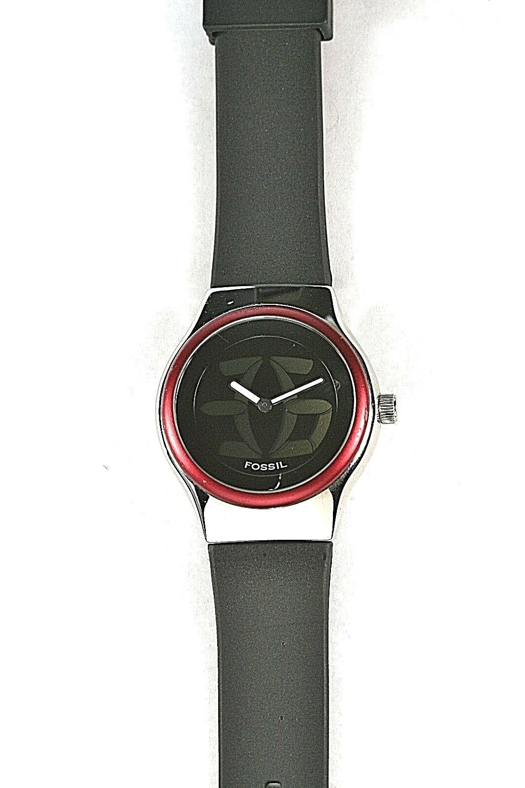 Primary image for Big Tic Fossil Mans 50m Water Resistant Easy Read Silver Red Mtl Sport Watch $49