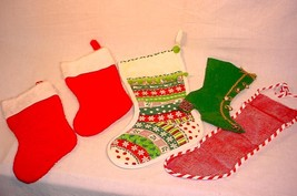 LOT OF VINTAGE CHRISTMAS STOCKINGS PLUSH QUILTED FELT MESH - $20.84