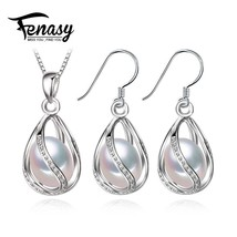 FENASY Pearl Jewelry Set,natural Pearl Pendant Necklace and stud Earring... - $23.60