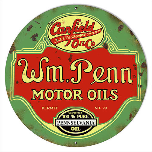 W.M Penn Gasoline Reproduction Vintage Metal Sign 14x14 Round