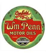 W.M Penn Gasoline Reproduction Vintage Metal Sign 14x14 Round - $25.74