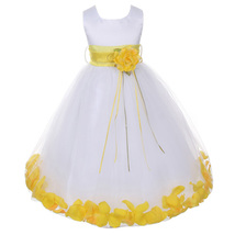 White Satin Bodice Layers Tulle Skirt Yellow Flower Ribbon Brooch and Petals - $48.00