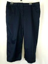 Liz Claiborne Q5 Womens Pants Navy 14Sloane Wide Leg Stretch clam diggers - $23.38