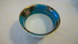 Noritake China Pedestal Sauce Rice Bowl Blue with Gold and Flowers - $25.98