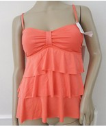 Nwt Kenneth Cole Reaction Tiered Ruffled Swimsuit Tankini Top Sz S Small... - $24.70